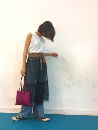 REIKA YOSHIDAさんの「シアーチュールスカート(TODAYFUL|トゥデイフル)」を使ったコーディネート