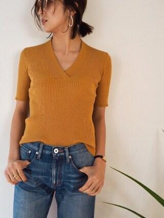REIKA YOSHIDAさんの「Cross Vneck Knit(TODAYFUL|トゥデイフル)」を使ったコーディネート