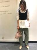 Rinko Takeuchiさんの「<LAURA DI MAGGIO>ドロストショルダーバッグ◇(BEAUTY&YOUTH UNITED ARROWS|ビューティアンドユースユナイテッドアローズ)」を使ったコーディネート