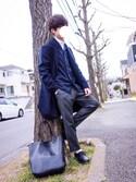 [riku]さんの「【Daniel Wellington】レザーバンド36MM(Daniel Wellington ダニエルウェリントン)」を使ったコーディネート