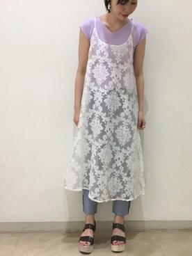 omekashi 新宿ルミネエスト店 |kitanoさんのTシャツ/カットソー「UVリブT(mystic|ミスティック)」を使ったコーディネート