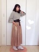 tomomiさんの「KBF メタリックプリーツスカート(KBF|ケイビーエフ)」を使ったコーディネート