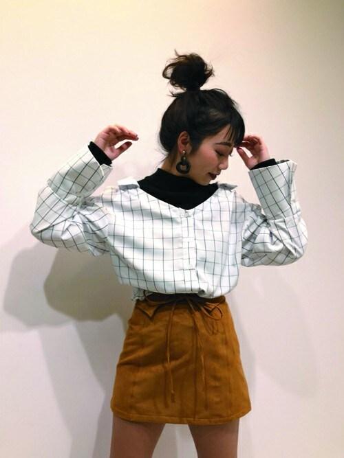 mami ieiriさんの「タートルレイヤードベルトシャツ(MURUA)」を使ったコーディネート
