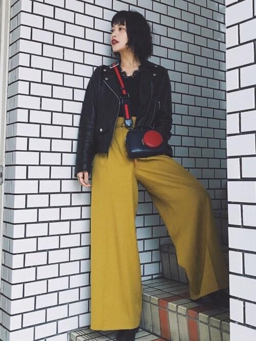 TAEさんの「ダブルレザーライダースジャケット(UNITED TOKYO)」を使ったコーディネート