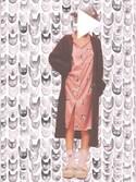 Young_Ryuさんの「キャットモチーフサテンシャツドレス(gelato pique)」を使ったコーディネート