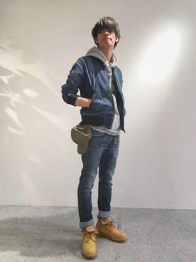 AVIREX  福岡|Yukiさんのデニムパンツ「avirex/ アヴィレックス /TYPE BLUE STRETCH DENIM 7 POCKET PANTS/ タイプブルー ストレッチデニム 7ポケット パンツ(TYPE BLUE|タイプブルー)」を使ったコーディネート
