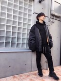 「Vetements MA1 Oversized Shell Hooded Bomber Jacket(Vetements)」 using this わたる【All Black】 looks