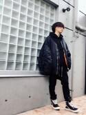 わたる【All Black】さんの「Vetements MA1 Oversized Shell Hooded Bomber Jacket(Vetements|ヴェトモン)」を使ったコーディネート