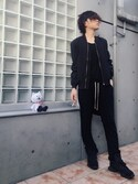「Rick Owens Drop-Crotch Wool-Blend Trousers(Rick Owens)」 using this わたる【All Black】 looks