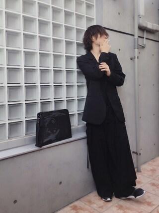 わたる【All Black】さんの「SILKET POC V-NECK LONG SLEEVE T-SHIRT(LITHIUM HOMME|リチウム オム)」を使ったコーディネート