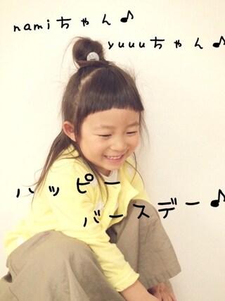 ma-yuさんの「花モチーフ付きカーディガン(petit main|プティマイン)」を使ったコーディネート
