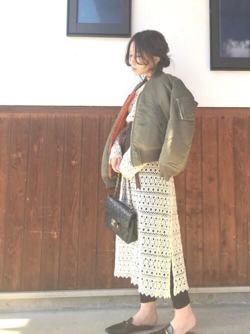 shihoさんの「【金子綾×FRAMeWORK】レースガウン◆(FRAMeWORK)」を使ったコーディネート