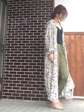 shihoさんの「《予約》3/8 per plage バックサテン ベイカーパンツ◆(Plage|プラージュ)」を使ったコーディネート