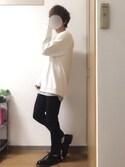 tsubasaさんの「杢ツインロールネックタンク 裾ラウンドロングタンク(Heather mix)(MONO-MART|モノマート)」を使ったコーディネート