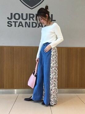 journal standard luxe 渋谷店|Mさんのニット/セーター「ストレッチリブ 2WAYボートネックプルオーバー#(JOURNAL STANDARD|ジャーナルスタンダード)」を使ったコーディネート