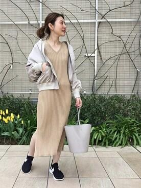 journal standard luxe 渋谷店|Mさんのワンピース「ビスコースワイドリブロングワンピース#(JOURNAL STANDARD|ジャーナルスタンダード)」を使ったコーディネート