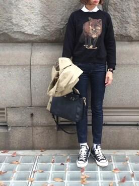 あさひさんの「◆MADISON BLUE オックス丸襟シャツ(Deuxieme Classe|ドゥーズィエムクラス)」を使ったコーディネート