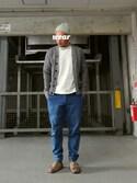 yonemicci70さんの「MEN ビッグシルエットポケ付きT(半袖)(ユニクロ|ユニクロ)」を使ったコーディネート