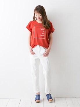 Ralo de Malo|Ralo de Maloさんの「レーヨンストレッチプリントロゴTシャツ(no brand)」を使ったコーディネート