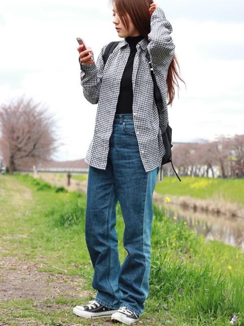 yさんの「プレミアムリネンチェックシャツ(長袖)(ユニクロ)」を使ったコーディネート