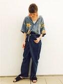 masuda  nonomiさんの「EUREKAワイドデニム(MAISON EUREKA|メゾンエウレカ)」を使ったコーディネート