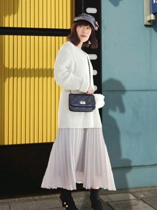 Megchuさんの「WOMEN シフォンプリーツスカート(ユニクロ|ユニクロ)」を使ったコーディネート