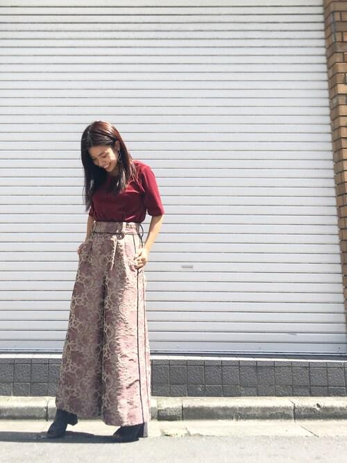 ayanoさんの「ライトベロアハーフスリーブTシャツ(STUDIOUS CITY)」を使ったコーディネート