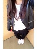 Sakuraさんの「ADIDAS アディダス STAN SMITH スタンスミス M20325 *RWHI/RWHI/NEWN(adidas|アディダス)」を使ったコーディネート