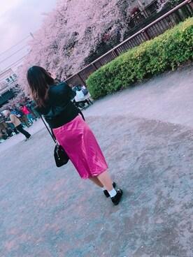 yunaさんの「カラータックギャザースカート(MIIA|ミーア)」を使ったコーディネート