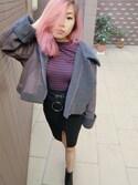 「H&M - Short Turtleneck Sweater - Black/white striped - Ladies(H&M)」 using this GLT looks