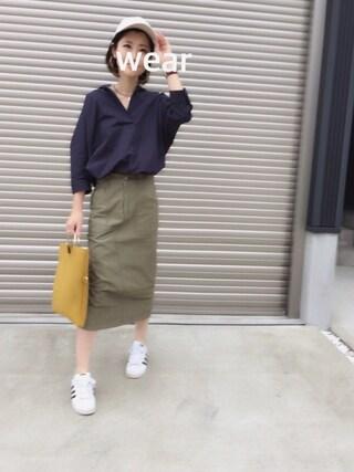 kuukoさんの「◆WEB限定アイテム◆BAYFLOW/ピーチツイルタイトスカート 17SS(BAYFLOW|ベイフロー)」を使ったコーディネート