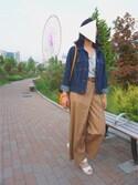 ゆりちゃんさんの「クロスチノワイドパンツ/750532(JEANASIS|ジーナシス)」を使ったコーディネート