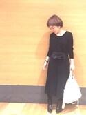 ヒデヨさんの「(GU)ウールブレンドVネックセーター(長袖) OFF WHITE S(GU|ジーユー)」を使ったコーディネート