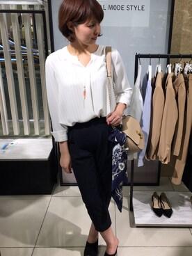 TONAL 西武池袋本店|NATSUKOさんのシャツ/ブラウス「ストライプスキッパーブラウス(TONAL|トーナル)」を使ったコーディネート