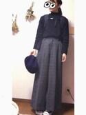 あやさんの「裾スリットハイネックプルオーバー(Kastane|カスタネ)」を使ったコーディネート