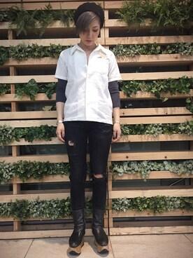 AVIREX 西宮|mikuさんのシャツ/ブラウス「avirex/ アヴィレックス/ L S/S AIR PATROL EMB SHIRTS/ エアーパトロール 刺繍 シャツ(AVIREX|アヴィレックス)」を使ったコーディネート