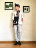 MASAKAZU@ヨーヨーマンさんの「WOMEN ミラノリブカットソージョガーパンツ(ユニクロ|ユニクロ)」を使ったコーディネート