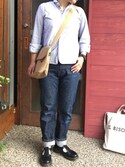 aohrさんの「【HAVERSACK】丸襟長袖シャツ ストライプ WOMEN(HAVERSACK|アー・ペー・セー)」を使ったコーディネート
