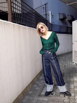 EMODA渋谷109店|徳永美乃里さんの「クラッシュ ライン ワイドデニム(EMODA|エモダ)」を使ったコーディネート