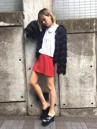 EMODA渋谷109店|徳永美乃里さんの「スプリング フェイクファー カーディガン(EMODA|エモダ)」を使ったコーディネート
