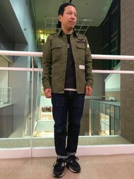 AVIREX  福岡|SUGAYA!さんのシャツ/ブラウス「avirex/ アヴィレックス /  コーデュラ ミックス ステンシル カーキシャツ/CORDURA MIX STENCIL KHAKI SHIRT(AVIREX|アヴィレックス)」を使ったコーディネート