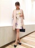 hashico☺︎さんの「《andGIRL3月号モデル美香さん着用アイテム》オリジナル花柄プリント袖プリーツサックワンピース(31 Sons de mode|トランテアン ソン ドゥ モード)」を使ったコーディネート