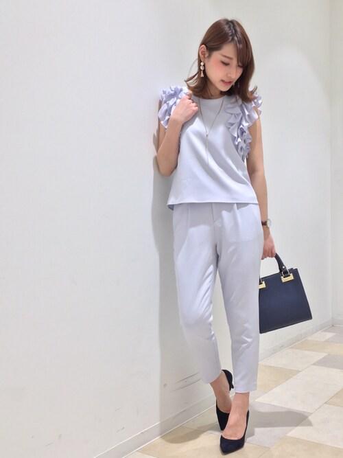 hashico☺︎さんの「《andGIRL3月号モデル美香さん着用アイテム》袖フリルパンツセットアップ《WEB限定カラーあり》(31 Sons de mode)」を使ったコーディネート