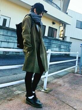ikka LOUNGE|魔女っ子ペニ子さんのチェスターコート「メルトンガウンコート (ikka|イッカ)」を使ったコーディネート