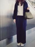 YUKAさんの「○UWBT T/R ストレッチ ワイド パンツ◆(UNITED ARROWS|ユナイテッドアローズ)」を使ったコーディネート
