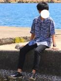 SHINさんの「サングラス べっ甲 ワイヤーフレーム ボストン型 カラーレンズ(ROOPTOKYO|ループトウキョウ)」を使ったコーディネート