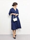 RINAさんの「女性らしいシルエット2wayカシュクールコットン100%五分袖ポケット付きガウンフレアワンピース(select MOCA|セレクトモカ)」を使ったコーディネート