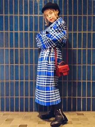 瀬戸あゆみさんの「Jacquemus - Plaid Woven Coat - Bright blue(Jacquemus|ジャックムー)」を使ったコーディネート