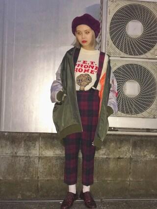 瀬戸あゆみさんの「E.T.×Aymmy ジャガードセーター(Aymmy in the batty girls|エイミー インザ バッティー ガール)」を使ったコーディネート