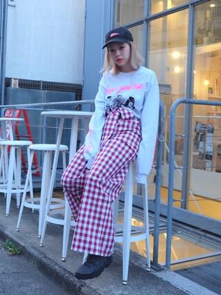 瀬戸あゆみさんの「CABIN AYMMY L/S Tシャツ(Aymmy in the batty girls|エイミー インザ バッティー ガール)」を使ったコーディネート